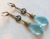 CZECH GLASS EARRINGS-Vintage Art Deco-Gablonz Region-Blue Topaz Glass with Crystal Rhinestone Accents-Brass Filigree Design-Shoulder Dusters