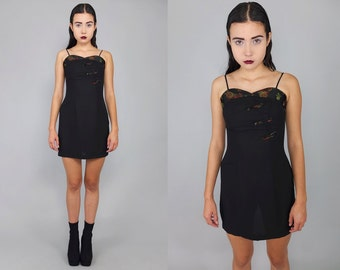 Vintage 90s Black Oriental Dolly Mini Dress XS