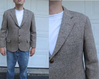 1970s men's khaki/tan Harris Tweed wool sportcoat, handwoven tweed, vintage tweed blazer