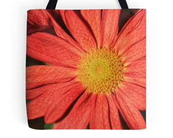 Orange Daisy Bag, Orange Daisy Purse, Coral Daisy Tote Bag, Coral Daisy Print, Gerber Daisy Picture, Daisy Photo, Flower Print, Floral Bag