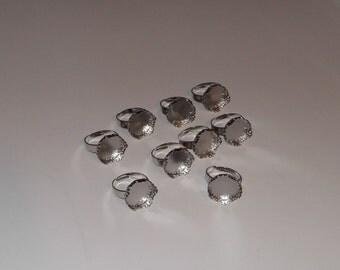 Adjustable Silver 15mm Ring Blanks Bezel Ring Lot of 9