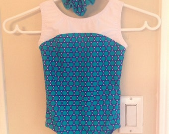 New Gymnastic Leotard - Turquoise/Purple Child Size 2, 4, 6, 8, 10 & 12