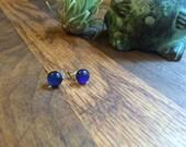 Bright Blue Dichroic Glass Studs