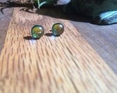 Sparkly Gold Green Dichroic Glass Studs