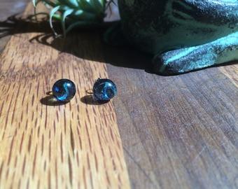 Blue Dichroic Glass Studs