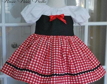 Little Red Riding Hood Dress, Little Red Riding Hood Costume, Storybook Dress, Girls Dress, Red Riding Hood,Halloween Costume,Peasant Dress,