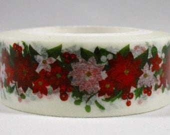 "CLEARANCE Exclusive Print From MechaKucha808 ""Winter Floral"" Washi Tape 15mm x 10 meters"