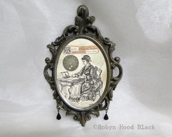 Gift for Writer Mixed Media Vintage Victorian Text in Old Italian Metal Frame