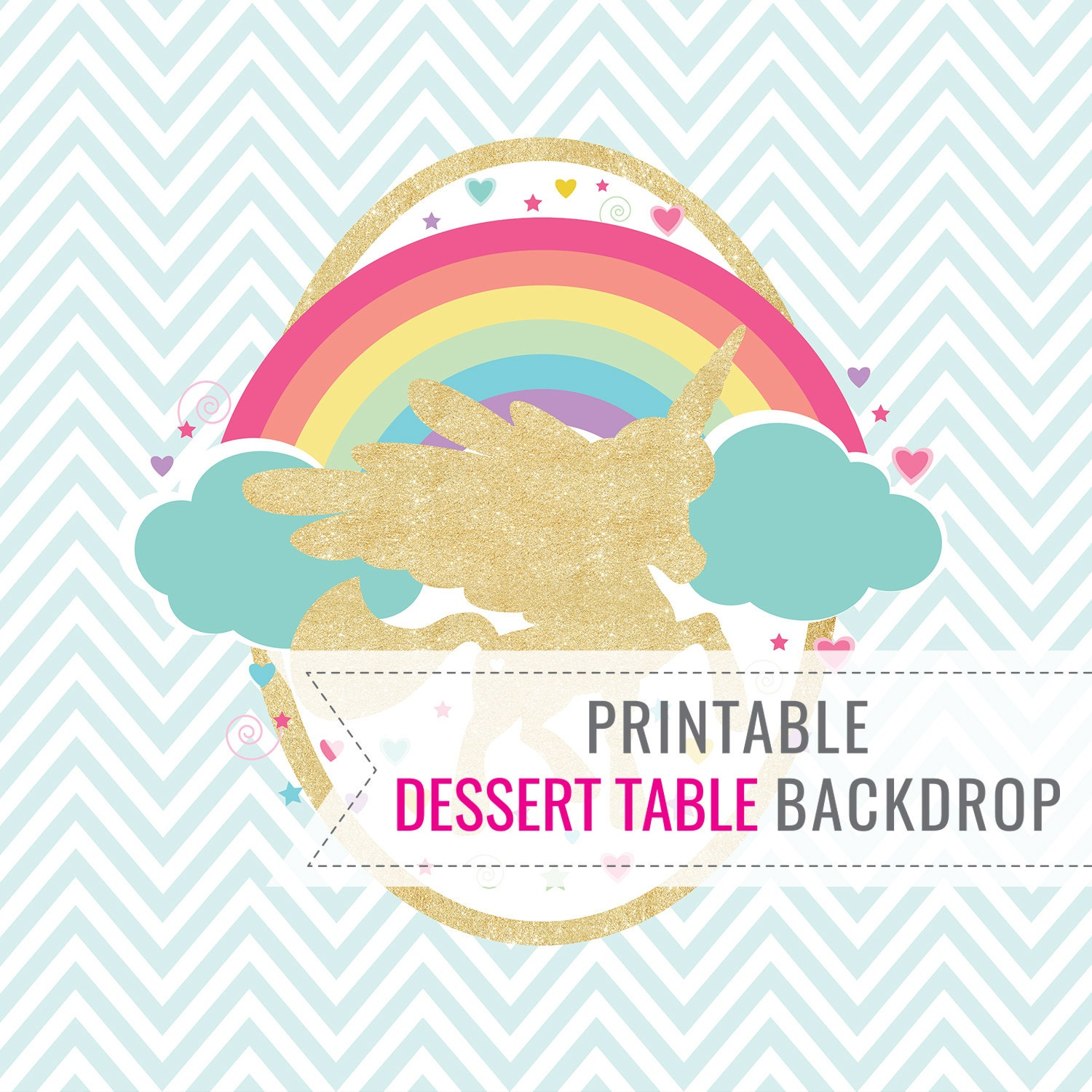 Unicorn party backdrop only birthday backdrop printable for Backdrop decoration for birthday