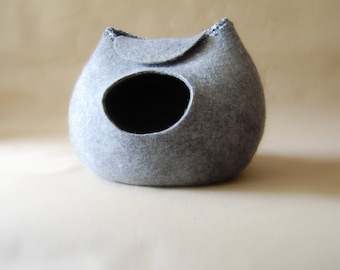 Cat bed - Grey cat cave - New design felted cave for cat -Natural wool cat bed - Pet furniture - to order