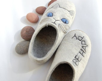 Cat slippers for women - Felted wool slippers - Cat lovers slippers -Grey white house shoes - Natural wool slippers - to order