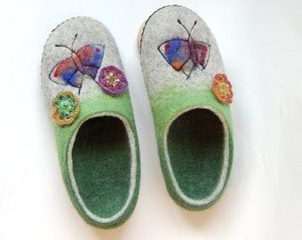 Felted slippers Felted wool ,Butterfly art slippers ,green grey felt slippers spring fashion ,womens wool slippers ,gift for mom  9 US