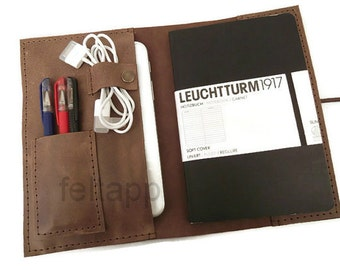 Distressed Leather Leuchtturm 1917 Cover, A5  Diary Cover, A5 Notebook Cover, Leather Portfolio, Travel Case, Leather A5 Travelers Notebook