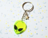 Acrylic Alien Keychain, Outer Space Green Alien Key Chain, 90's Grunge