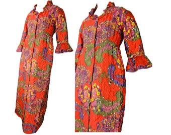 Psychedelic Vintage 60s Robe Maxi Quilted Housecoat Red and Purple Print