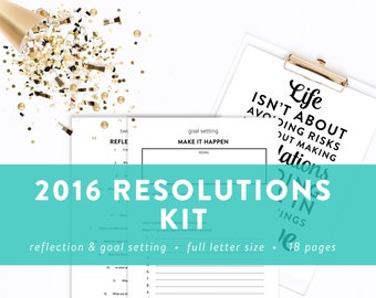 Resolutions Kit - Healthy and Organized - Reflection and Goal Setting - INSTANT DOWNLOAD