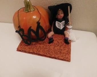 Ooak Art Handmade Clay Sculpted Articulated Witch Girl.