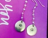 Moonstone Lotus Earrings - Goddess - Moon - Yoga Jewelry - Sterling Silver - Pewter
