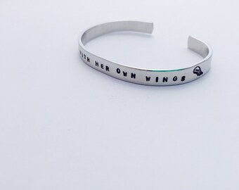 She Flies With Her Own Wings - Hand Stamped Cuff Bracelet - Personalized Customized Jewelry - Inspirational Quote Bracelet - Gifts for Her