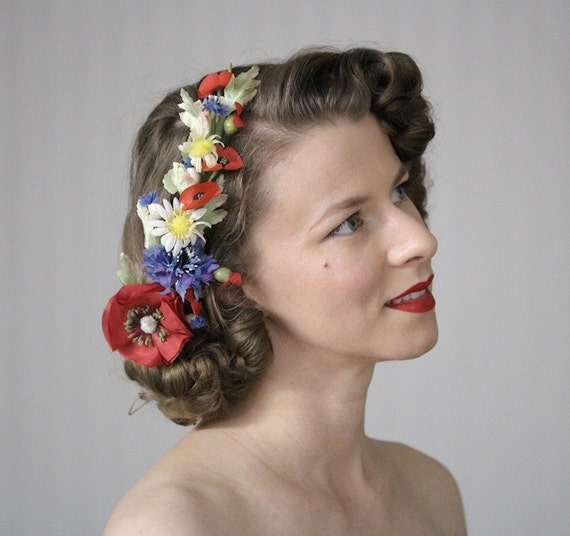 Vintage Hair Accessories: Combs, Headbands, Flowers, Scarf Wildflower Headpiece Poppy Fascinator Bohemian Flower Hair Accessory Red White Blue Summer Clip 1930s 1940s - Meet Me in the Meadow