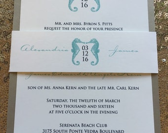 Simple Seahorse Wedding Invitation with Belly Band