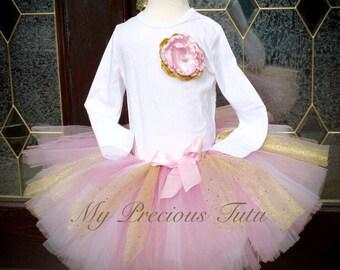 Birthday Tutu Set, Birthday Tutu, Pink and Gold Tutu, 1st Birthday, Tutu set, Pink Birthday Tutu by My Precious Tutu