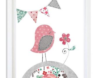 Pink grey teal bird Nursery print, instant download printable art, girl art, digital print, nursery art, 8x10 11x14 - Pink grey bird print