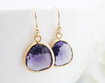 SALE Wedding Jewlery Bridesmaid Earrings Bridal Jewelry Amethyst Gold Drop Earrings Purple Framed Glass Crystal Dangle Earrings