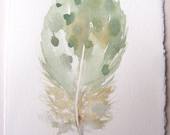 Watercolor feather painting original/ Minty green feather illustration/ Nature painting/ Home and living/ Nursery decor/ Gift for him ooak