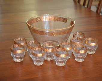 MCM Culver Tyrol  Punch Bowl & Glasses Set Gold Band