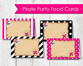 Pink Pirate Food Cards - Instant Download
