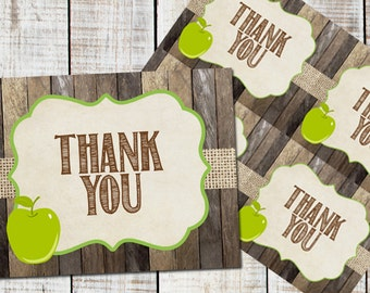 Apple Thank You Card, Baby Shower, Printable _1009
