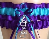 Purple Haze and Turquoise Wedding Garter Set, Bridal Garter Sets, Prom Garter, Keepsake Garter, Homecoming