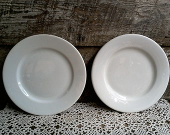 "White Ironstone Plates, Set of 2, Antique Plain White Luncheon Side Plates, 8 1/4"", Shenango PA, French Country, Farmhouse Decor, Rustic"