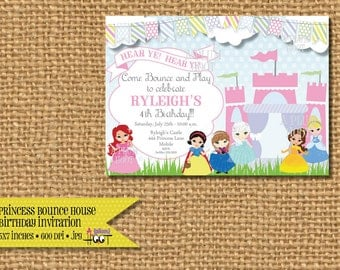 Princess Castle Bounce House Birthday Invitation. (5x7 Printable) Can be customized to any type of party.