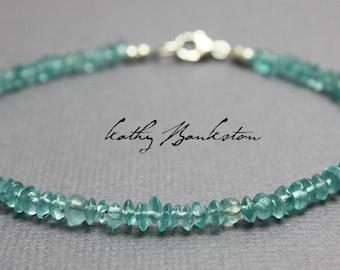 Apatite Bracelet, Aqua Blue Apatite Abacus Bead Bracelet, Tiny Apatite Bracelet, Delicate Apatite Bracelet, Apatite Jewelry, Kathy Bankston