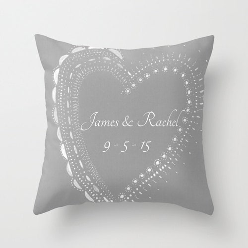 Personalized Heart Throw Pillow : Personalized Grey Heart Wedding Date Throw Pillow Cover heart