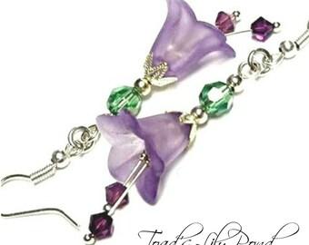 Purple Lucite Flower Earrings   Purple Flower Earrings   Bell Flower   Fairytale Jewelry   Woodland Earrings   Purple Bellflower Earrings
