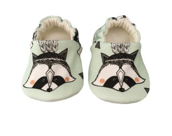 Baby Girls Shoes, Organic, MInt Green, RACCOONS, British, Baby Pram Shoes, Baby Slippers, soft soled shoes, cruising