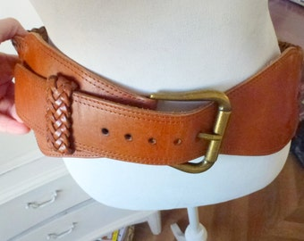 chunky brown leather belt- real leather