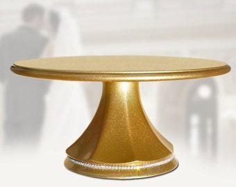 Wedding cake stand gold pedestal with a simple string of diamond rhinestone crystals