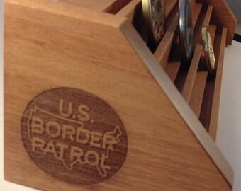 SALE Birch U.S.Border Patrol Challenge Coin Display for 23-27 Coins