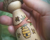 Honey Bee Acorn Capped Peg Doll // Wooden Waldorf  Peg Doll for Nature Table and Play // Apiary Gift // Pollinators and Nature Themed Doll