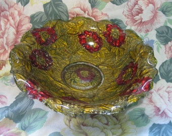 Vintage Goofus Glass Bowl, Poppy Pattern, Painted Red and Gold