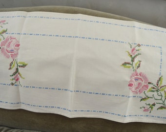 "Vintage 32"" Linen Cross Stitch Table Runner"
