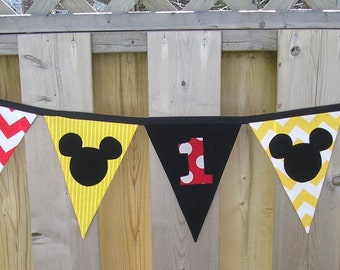 Mickey Mouse Banner Seven Flags Double Sided Birthday Parties Photo Prop First Birthday