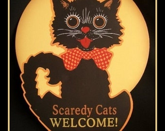 Fridge Magnet image of Vintage Halloween decor Black Cat Scaredy cat haunted trick or treat
