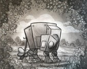 """Signed, Framed Original Charcoal Drawing on Bristol Board By James Hance - """"At-Ore"""" (Wookiee the Chew)"""