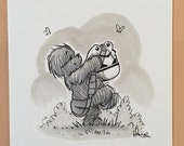 "Original, signed ""Wookiee the Chew"" drawing - ""Bucket"" by James Hance"