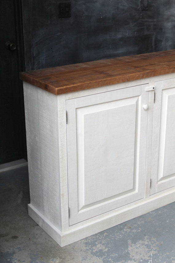 Rustic French Farmhouse Country Sideboard Buffet Cabinet Console Reclaimed Oak Pine Oyster White